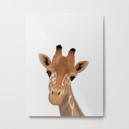 Safari nursery art, Giraffe print, Safari animals wall art, Baby giraffe Metal Print