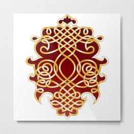 Ornate Royal Red and Gold Metal Print