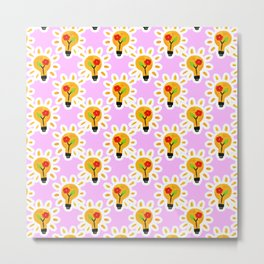 Creative Ideas - Daisy Lightbulb Garden Metal Print
