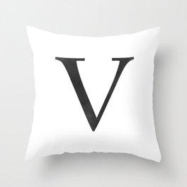 Letter V Initial Monogram Black and White Throw Pillow
