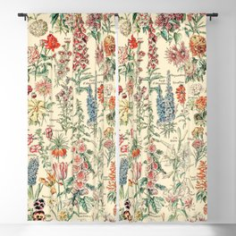 Vintage Floral Drawings // Fleurs by Adolphe Millot XL 19th Century Science Textbook Artwork Blackout Curtain