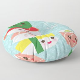 I love sushi. Kawaii funny sushi set with pink cheeks and big eyes, emoji. Blue japanese pattern Floor Pillow