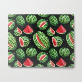 Vibrant Watercolor Watermelon on Black Metal Print