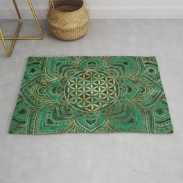 Flower of Life in Lotus - Malachite and gold Rug