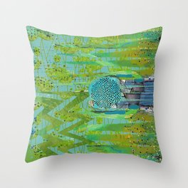 Green Turquoise Jagged Abstract Art Collage Throw Pillow