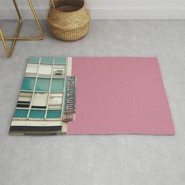 Aqua and Pink New York Coffee Shop Rug