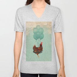 Chickens can't fly 02 Unisex V-Neck