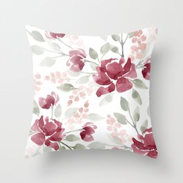 Burgundy Watercolor Floral Throw Pillow