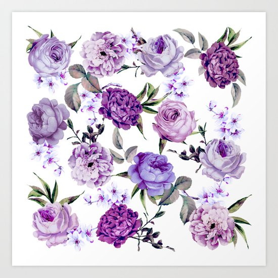 Elegant Girly Violet Lilac Purple Flowers by blackstrawberry