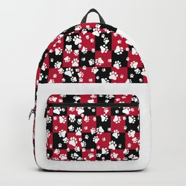 Paw Prints on Bull Dog Red and Black Checker Pattern Digital Design Backpack