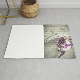 love letter with pearls and rose Rug