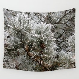 Frosty Pine Tree Wall Tapestry