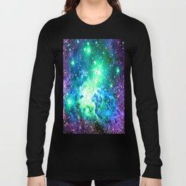 Fox Fur Nebula BRIGHT : Green Blue Purple Galaxy Long Sleeve T-shirt