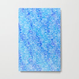 White Sea Life on Blue Watercolors Metal Print