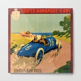 1922 Vintage Auto Motor Club Racing Armangue Trophy Tarragona Spain Advertising Poster Metal Print