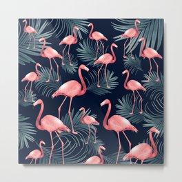 Summer Flamingo Palm Night Vibes #1 #tropical #decor #art #society6 Metal Print