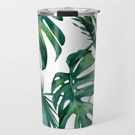 Classic Palm Leaves Tropical Jungle Green Travel Mug