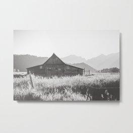 Moulton Barn in Black and White Metal Print