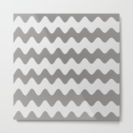 Pantone Pewter Gray Soft Zigzag Rippled Horizontal Line Pattern Metal Print