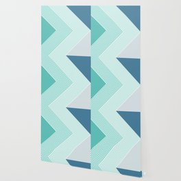 Teal Vibes - Geometric Triangle Stripes Wallpaper