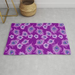 Orchid Peacock Feathers on Amethyst Purple Rug