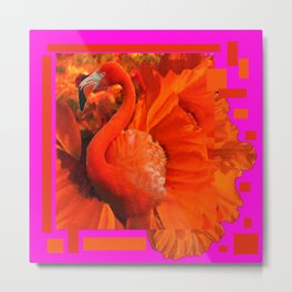 ART DECO  Saffron Flamingo Orange  Fuchsia Fantasy Painting Metal Print