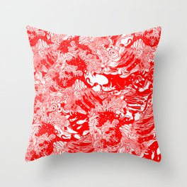 Big waves Red Throw Pillow