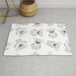 Seamless pattern - Funny cute koala on white background Rug