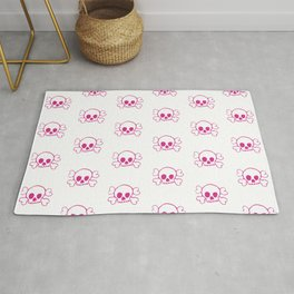 Pink Skull and Crossbones Pattern and Print Rug