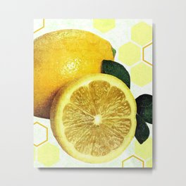 Tropical Print - Lemon - Fruit - Yellow, Green - Modern Wall Art Print - Tropical Poster Metal Print