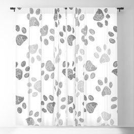 Black and grey paw print pattern Blackout Curtain