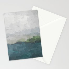 Gray Clouds Green Land Aqua Teal Water Ocean Waves Abstract Nature Painting Art Print Wall Decor  Stationery Cards