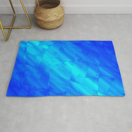 Glowing metallic blue fragments of yellow crystals on irregularly shaped triangles. Rug