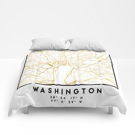 WASHINGTON D.C. DISTRICT OF COLUMBIA CITY STREET MAP ART Comforters