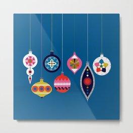 Retro Christmas Baubles on a dark background Metal Print