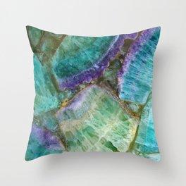 Stone Mosaic Fluorite rock art Throw Pillow