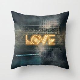 LOVE – Neon Retro Throw Pillow