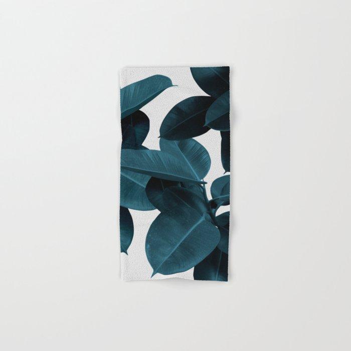 Indigo Blue Plant Leaves Hand & Bath Towel