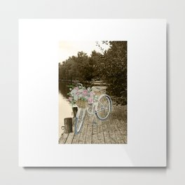 White Vintage Bicycle on a Pier in Oulu Finland Metal Print