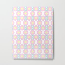 Unicorn Dreams, Abstract Retro Minimalist Geometric Floral Pattern in Beautiful Light Pastel Colors  Metal Print
