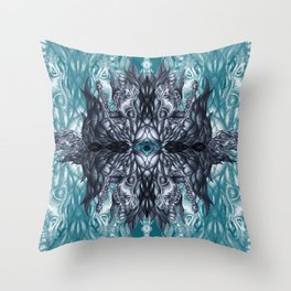 Horse skull pattern blue Throw Pillow