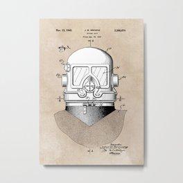 patent art Browne 1945 Diving suit Metal Print