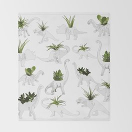 Dino and Cacti on White Throw Blanket