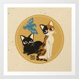 Cats meet the bird Art Print