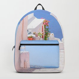 Santorini Greece Mamma Mia pink street travel photography Backpack