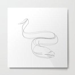 Moray Eel One Line Art Metal Print