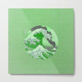 The Great Wave Off Kanagawa Mount Fuji Eruption-Green Metal Print