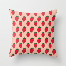 Strawberry Pattern (red/pink) Throw Pillow