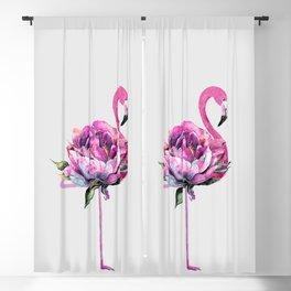 Flower Flamingo Blackout Curtain