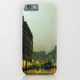 Boar Lane, Leeds, England Cityscape by John Atkinson Grimshaw iPhone Case